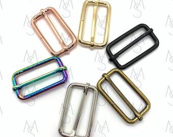 10 Strap Slides - Tri Glides - Adjustable Strap Slide - 1-1/2 Inches Wide - Rainbow Strap Slides - Strap Adjuster - Bag Hardware