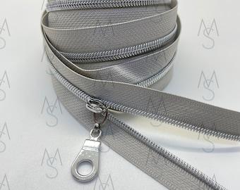 Silver Nickel Nylon Coil Zipper (#3 Size) with Grey Tape & Nickel Pulls - Zipper by the Yard - Nylon Coil Zipper - Metallic Zipper
