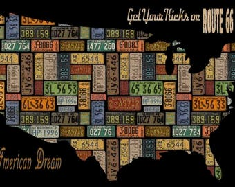 American Dream by Blank Quilting - USA Map Panel - 24 Inch - Cotton Woven Fabric
