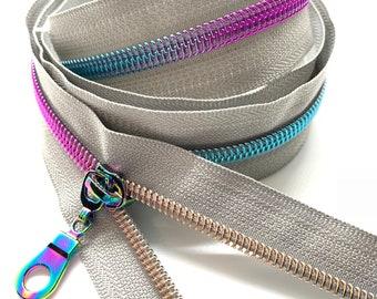 Rainbow Nylon Coil Zipper (#5 Size) with Grey Tape & Rainbow Pulls - Zipper by the Yard - Nylon Coil Zipper - Metallic Zipper