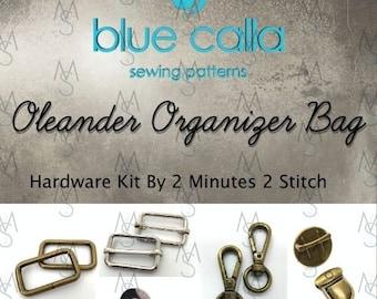 Oleander Organizer Bag - Blue Calla Hardware Kit - Swivel Clips, D-Rings