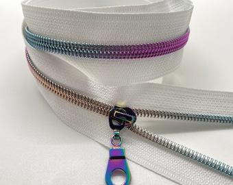 Rainbow Nylon Coil Zipper (#5 Size) with White Tape & Rainbow Pulls - Zipper by the Yard - Nylon Coil Zipper - Metallic Zipper