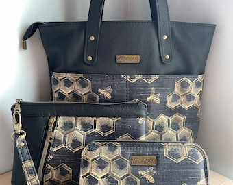 Genuine Leather - Honeycomb Urban Tote with Classic Zip Around Wallet & Cosmetic Bag