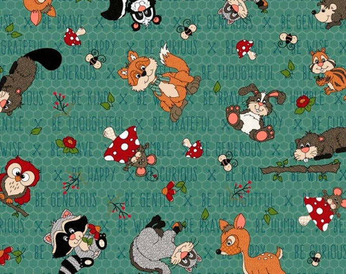 To Be or Not To Be by Henry Glass - Tossed Characters Teal - Cotton Woven Fabric