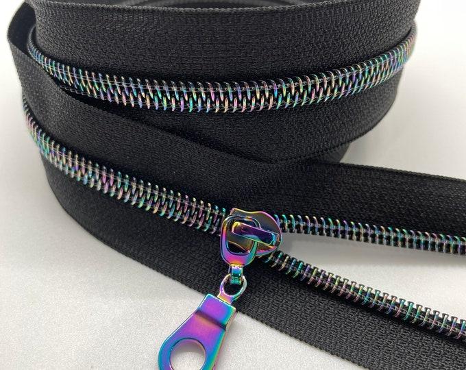 Star Rainbow Nylon Coil Zipper (#5 Size) with Black Tape & Rainbow Pulls - Zipper by the Yard - Nylon Coil Zipper - Metallic Zipper