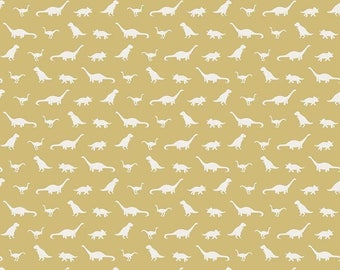 Fossil Rim Knits by Riley Blake - Tiny Dino Yellow - Cotton/Spandex Knit