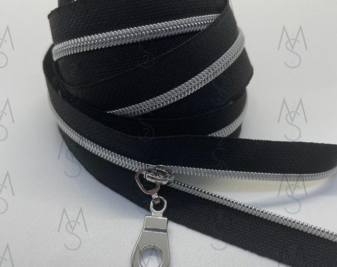 Silver Nickel Nylon Coil Zipper (#3 Size) with Black Tape & Nickel Pulls - Zipper by the Yard - Nylon Coil Zipper - Metallic Zipper