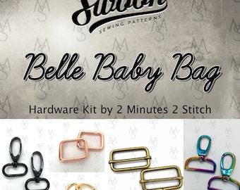 Belle Baby Bag - Swoon Patterns - Belle Hardware Kit - Swoon Hardware - Bag Making Hardware - 2 Minutes 2 Stitch