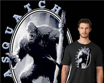 Sasquatch T-shirt Design. Sasquatch, Bigfoot, Yeti, the Abominable Snow Man, the myth and legend. Great gift for true believers and skeptics