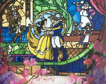 Beauty & the Beast Stained Glass Art Print