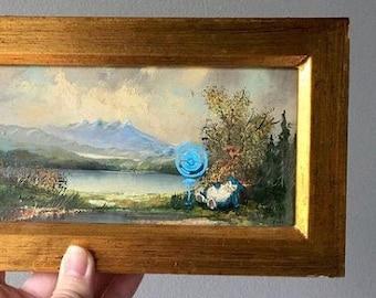 ART PRINT: Sleeping Snorlax • Upcycled Art • Thrifted Art • Paint Over • Altered Thrift Store Art • Pokemon Art
