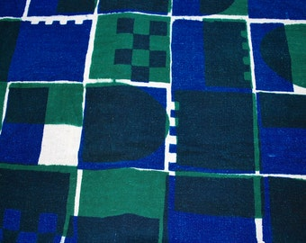 50% off Sale-Fabric in Geometric Blue and Green Cotton Weave