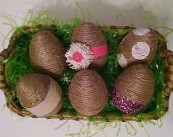 Decorative Easter Eggs – Spring decor – handmade – Twine wrapped eggs and embellishments – set of 6