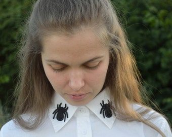 iron on patch spider applique patches faux suede black patch collars mini patch blouse shirt iron on teens small patch Collars&Bibs