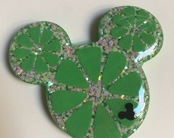Mickey Lime Slice Brooch or Necklace