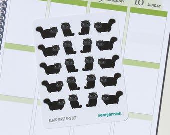 Black Persian Cat Sticker Set (Set of 20 Stickers)