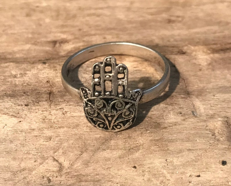 Vintage Shop. Sterling Silver Ring,Hand of Fatima...Protection...Good Luck Unique...Vintagen,Gypsy...Islam Size 9.5 Khamsa Ring Hand Ring