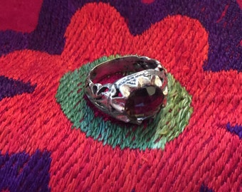 Vintage Ring...Smokey Topaz Ring...Sterling Silver Ring...Handcrafted...Vintage...Hippie...Birthstone...Gift...Vintage Shop...LV117