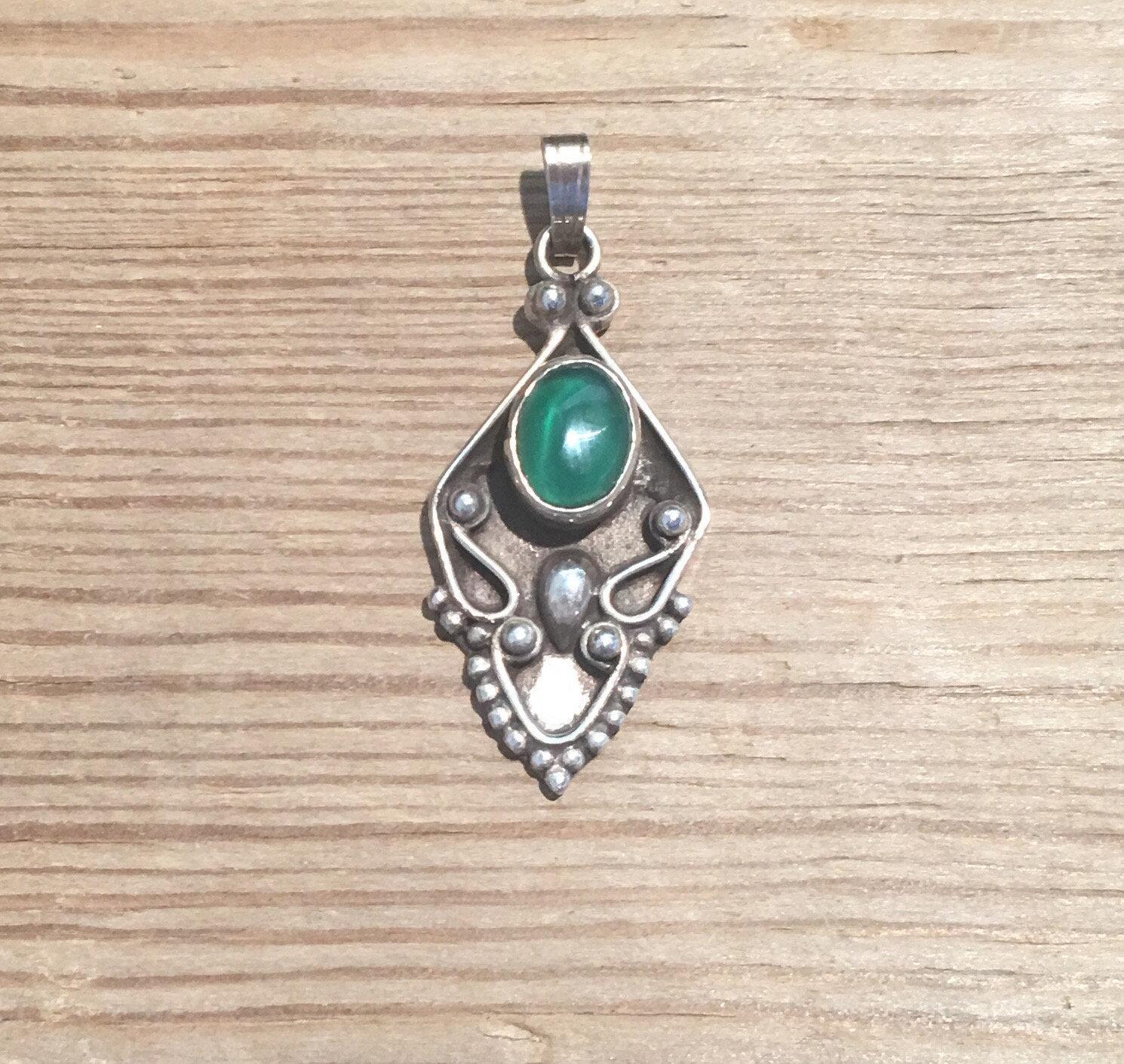 Pendentif Vintage - vert Onyx pendentif - en argent Sterling la collier pierre verte, fait à la Sterling main collier Vintage, boutique Vintage... 75926c