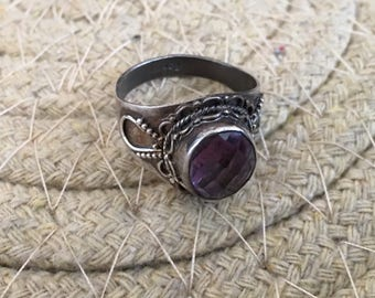 Amethyst Ring...Sterling Silver Ring...Handcrafted...February Birthstone...Simple...Vintage...Gypsy...Hippie...Gift...Vintage Shop