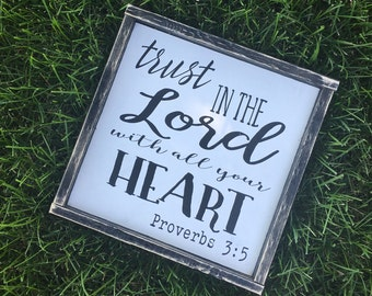Trust in the Lord with all your heart | Wood Sign | Gallery Wall | Scripture Sign | Wall Hanging | Wall Decor | Home Decor | New Home Decor