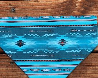 Turquoise aztec bandana, dog bandana, dog scarf, dog kerchief, pet bandana mexican blanket scarf ,kerchief, snap on bandana, over the collar