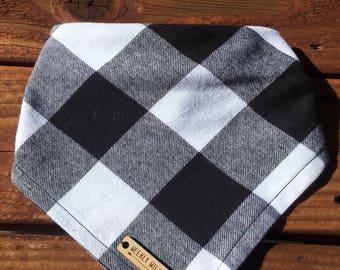 Fall plaid bandana, plaid, fall, bandanna,bandana, dog, scarf, kerchief, white,black, grey, tie on, over the collar, clip on