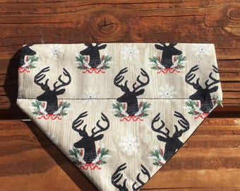 Holiday bandana, plaid, winter, fall, antler, bandanna,bandana, dog, scarf, kerchief, fox, stag, bear, deer, tie on, over the collar, clip o
