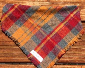 Fall plaid bandana, plaid, fall, bandanna,bandana, dog, scarf, kerchief, red,orange, grey, tie on, over the collar, clip on
