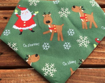 Santa and reinndeer bandana, plaid, winter, fall, bandanna,bandana, dog, scarf, kerchief, gnome, stag, bear, deer, tie on, over the collar,