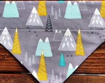 Mountain bandana, grey and yellow,fall, bandanna,bandana, dog, scarf, kerchief, bear, polar bear, pine tree, tie on, over the collar, clip