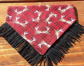 Holiday antler bandana, with fringe, plaid, winter, fall, bandanna,bandana, dog, scarf, kerchief, anter, stag, bear, deer, tie on, over the
