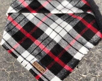 plaid bandana, plaid, fall, winter, bandanna,bandana, dog, scarf, kerchief, green,red, black, yellow, tie on, over the collar, clip on