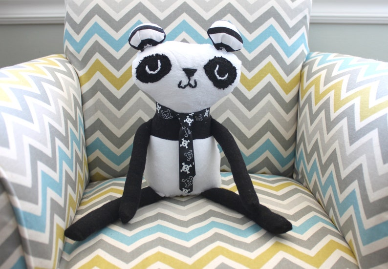 PANDA Handmade Plush Panda Black and White  Children's image 0