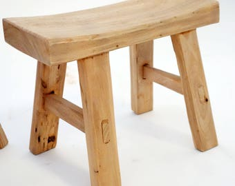 recycle elm wood stool, handmade.