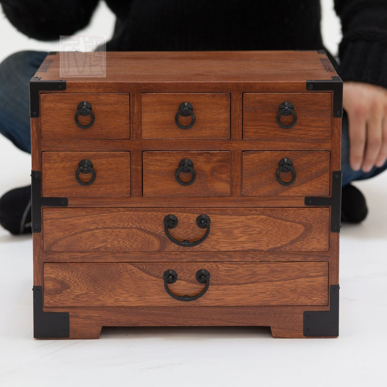 Japanese style jewelry box hand made with solid kiri wood. image 1