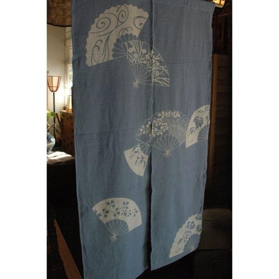 blue door way curtain AA95 cotton dragonflies Japanese Noren