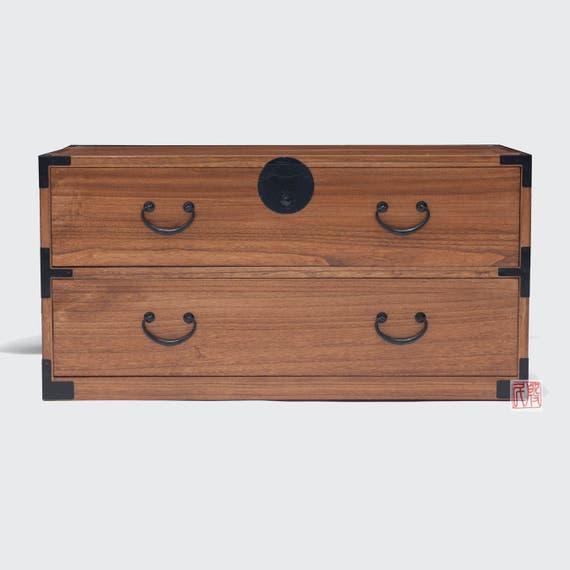 Japanese Style Kiri Wood 2 Drawers Clothing Chest Dresser Etsy