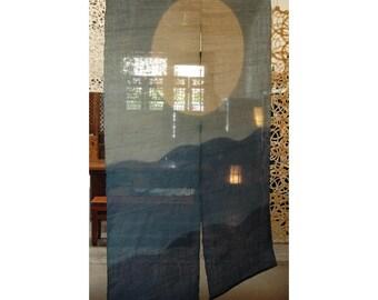 """traditional linen noren, door way curtain. (AA1) 35""""W x 59""""L"""