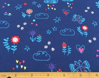 e7e793d78d1 Rainbow, Clouds and Butterfly Print Jersey Knit Fabric, Cotton Jersey Fabric ,Jersey Fabric,Stretch Jersey,Kids Jersey - Half Metre