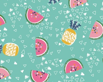 Dashwood Studio Club Tropicana Pineapple and Melon Print Cotton Fabric, Quilting and Patchwork Fabric - Fat Quarter