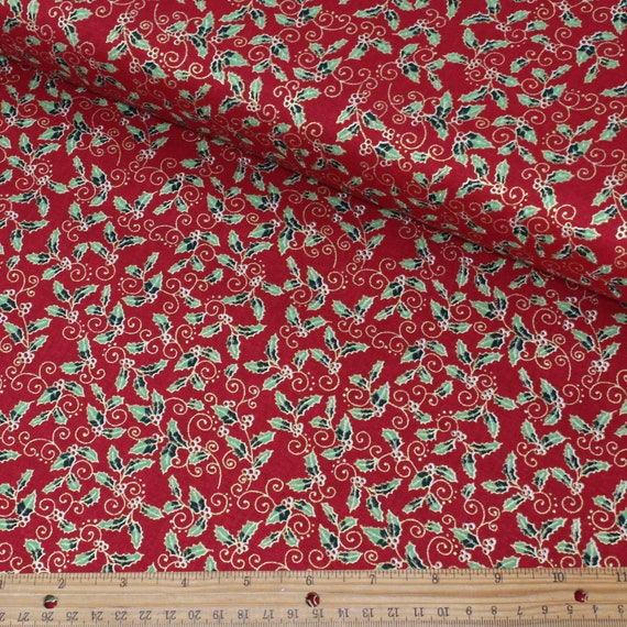 100/% cotton xmas fabric green red gold star craft patchwork