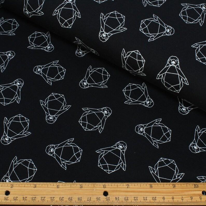 2ee36ecf0cd HALF METRE Black Penguin Jersey Knit FabricJersey Fabric | Etsy