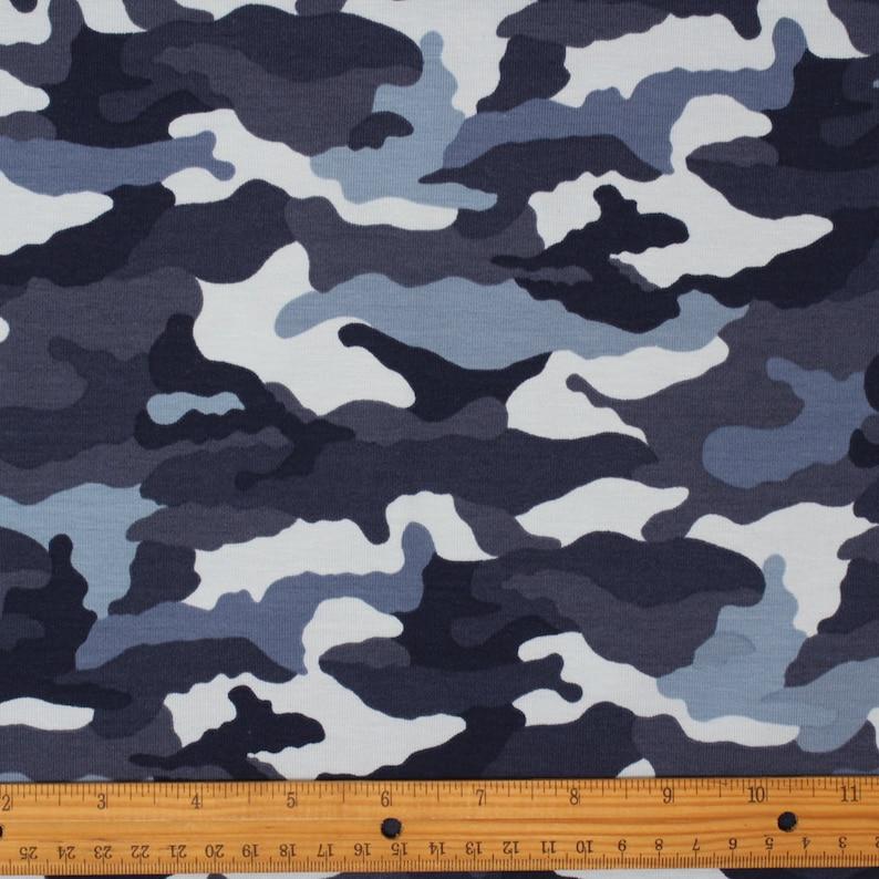 076604cc7af HALF METRE Blue Camouflage Print Jersey Knit Fabric Stretch | Etsy