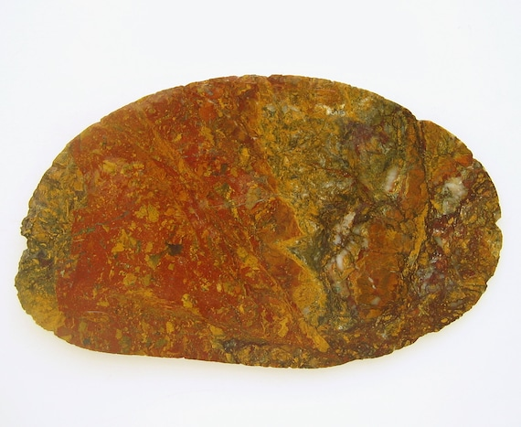 Brecciated Jasper/Slab/Rough/Specimen/San Simeon Creek/Central  Coast/California/Red-yellow- brown-gray-white/Healed fracture lines/No pits