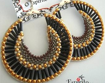 DIY Beading Pattern, Hoop Earrings Tutorial, Jewellery Tutorial