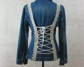 Denim Jacket Lace Up Corset Back Upcycled Restyled Festival Clothing Boho Bohemian Jean Jacket Embellished Decorated Vintage Denim