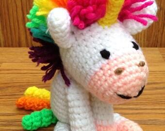 Small Crochet rainbow unicorn