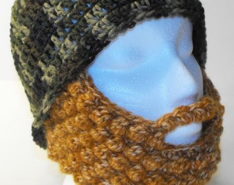 Bearded crochet hat, Mustache, Camouflage, Green, Men's, Costume, handmade,