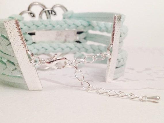 Love sister infinity bracelet Mint bracelet Heart bracelet Sister bracelet  Infinity women bracelet Spring mint bracelet Friendship bracelet